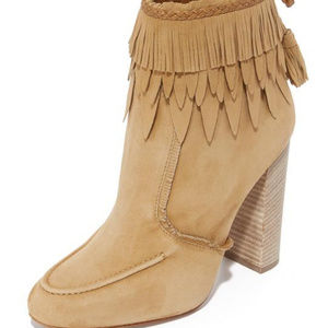 Shoes - Aquazurra Tiger Lilly Suede Fringe Booties